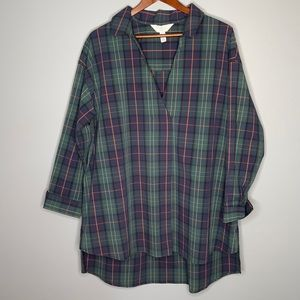 AdditionElle green tartan plaid collared Vneck long sleeve stretch cotton top 1X